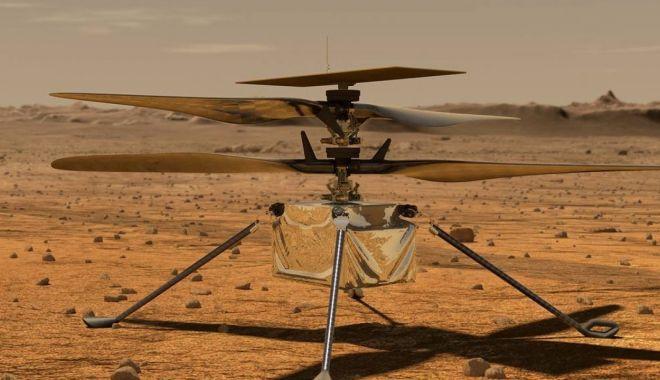 Foto: Microelicopterul Ingenuity trimis pentru a zbura în atmosfera planetei Marte, a fost testat cu succes