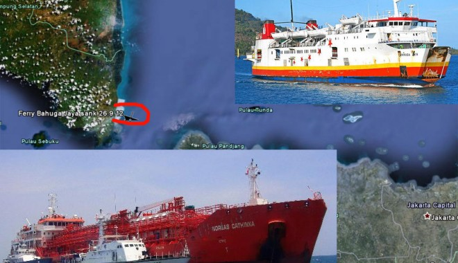 Foto: Un ferry-boat s-a scufundat în urma coliziunii cu un LPG. Opt persoane și-au pierdut viața