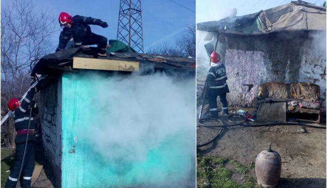 Foto: Incendiu violent, cauzat de o butelie! O persoană a suferit un atac de panică
