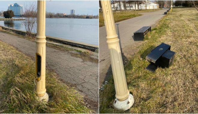 Foto: Actele de vandalism din parcul Tăbăcărie continuă! Sesizați poliția dacă știți făptașii