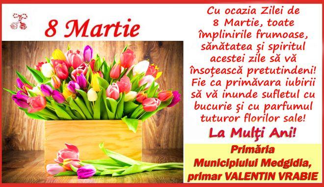 Foto: Mesajul primarului Valentin VRABIE cu ocazia zilei de 8 Martie