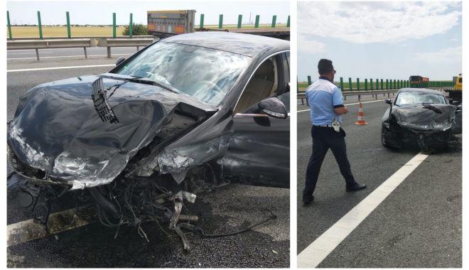 Foto: Atenție, șoferi! O bandă de pe autostrada A4, închisă circulației din cauza unui accident