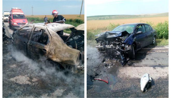 Foto: Accident cu trei victime, în județul Constanța! Trei mașini implicate, una a luat foc