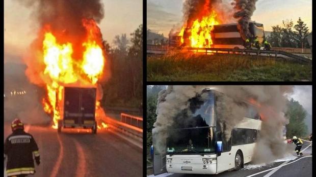 Foto: CLIPE TERIBILE! Un autocar românesc a explodat pe o autostradă din Austria