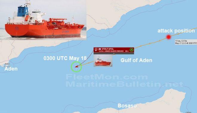 Foto: Tanc chimic, atacat de PIRAȚI, în Golful Aden. Focuri de armă!
