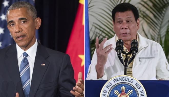 """Foto: Președintele filipinez își exprimă regretul că l-a numit """"fiu de cățea"""" pe Obama"""