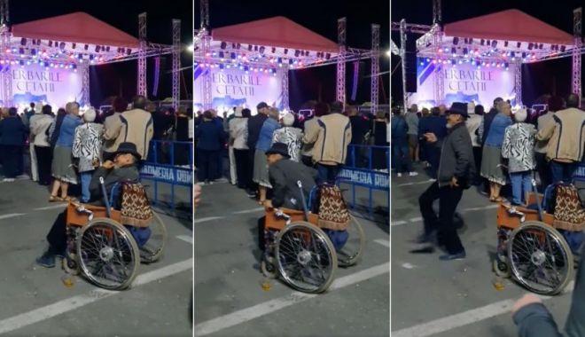 Bărbat în scaun cu rotile, filmat când se ridică şi începe să danseze la Zilele Oraşului Deva - scauncurorile-1631540611.jpg