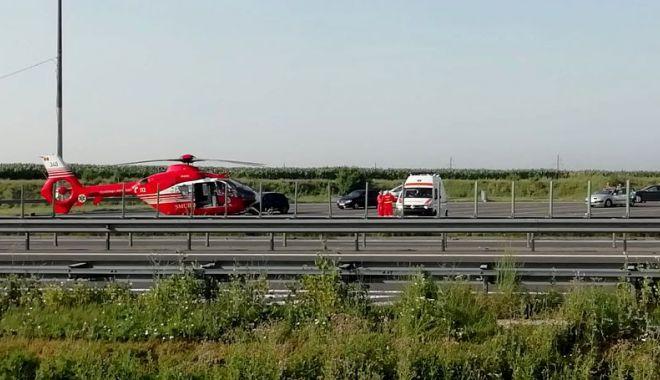 Foto: ACCIDENT RUTIER GRAV pe Autostrada Soarelui. Un copil a FOST RĂNIT. Intervine elicopterul SMURD