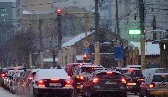 Foto: Ninge la Constanța. Trafic dificil în oraș