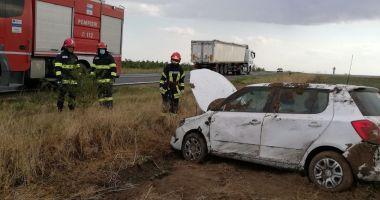 Autoturism răsturnat în Cogealac. Victima este conștientă