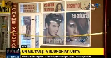 Militarul care și-a înjunghiat mortal concubina într-un coafor, arestat preventiv